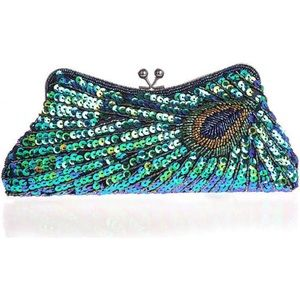 Handbags - Baginning Turquoise Sequined Peacock Like Clutch